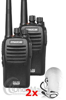 PACK DUO DYNASCAN DA-350 dPMR-446 DE USO LIBRE ANALOGICO/DIGITAL+PINGANILLO DE REGALO+PORTES GRATIS - El pack Dynascan DA-350 son unos transceptores portátilesde UHF de uso libre con funciones analógicas y digitales dPMR-446. Incluye la última tecnología digital dPMR para una mejor protección de interferencias, es compatible con el Kenwood TK-3401D y el resto de equipos PMR-446 analógicos de cualquier otra marca.