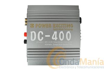 DC-400 REDUCTOR DE 24 A 12 V CON 40 AMP. - Reductor de 24V.C.C. a 12 V.C.C. con una intensidad máxima de 40 Amp.