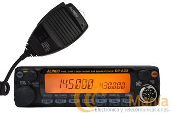 ALINCO DR-635 E EQUIPO MOVIL DOBLE BANDA VHF/UHF - SUSTITUIDA POR ALINCO DR-638HE. Transceptor móvil FM doble banda (VHF - UHF)+ banda aerea (AM) con 200 canales de memoria, 50 W en VHF y 25 W en UHF, LCD con tres colores diferentes y CTCSS y DCS incorporados.