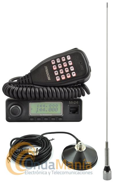 PACK DYNASCAN M-24 MINI EMISORA VHF+ANTENA DIAMOND+BASE MAGNETICA - Pack compuesto por una emisora de VHF Dynascan M-24 con base magnética y una antena Diamond de 1/4 de onda para VHF