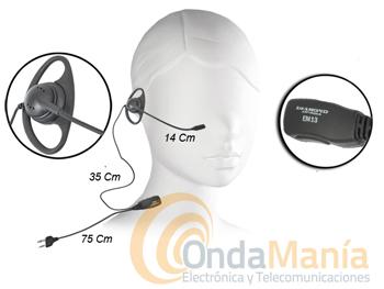 EM-13M MICROFONO AURICULAR DIAMOND (ORIGINAL) - Micrófono auricular Diamond (original) para Yaesu, Icom, Alan,... micrófono con boom desde el auricular.