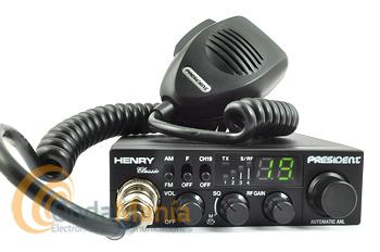 PRESIDENT HENRY ASC CLASSIC NUEVA VERSION 12/24 V + PORTE GRATIS - La President Henry ASC Classic 12/24 V es una emisora con 40 canales AM y FM, dispone de squelch manual y automático ASC, filtro ANL integrado, tecla canal 19,... y un tamaño muy reducido. Nueva versión 12/24 V.