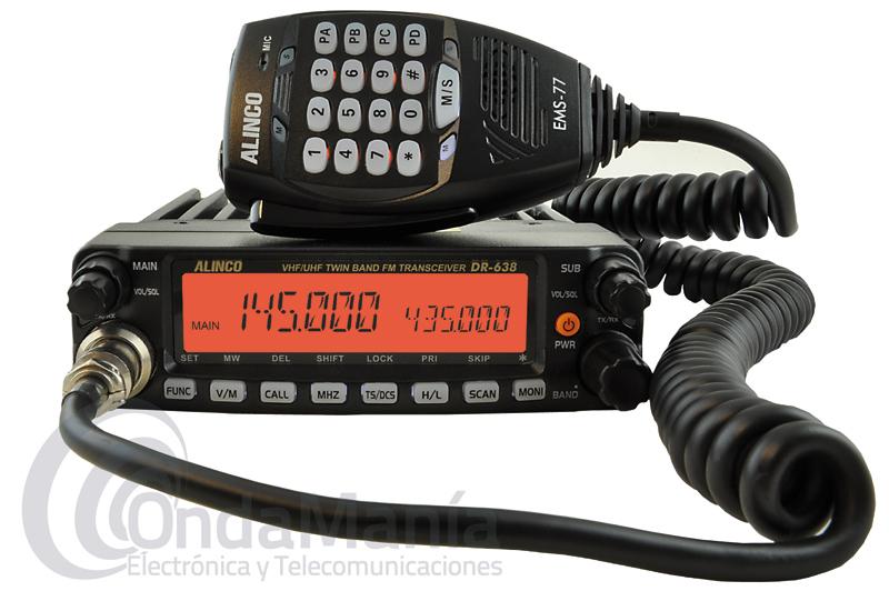 ALINCO DR-638HE EMISORA MOVIL DOBLE BANDA UHF/VHF CON 50 Y 40 W DE POTENCIA - Nueva y renovada versión del Alinco DR-635 ahora llamado DR-635HE es un transceptor doble banda VHF/ UHF con una potencia máxima de 50 W en VHF y 40 W en UHF, dispone de un gran display alfanumérico, 758 canales de memoria, múltiples y desmultiplicados saltos frecuencia, normas MIL-STD810,....