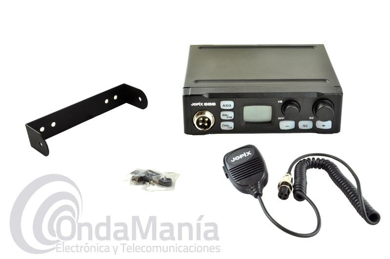 JOPIX 888 TRANSCEPTOR DE BANDA CIUDADANA CB-27 MULTINORMA CON AM Y FM - Emisora de 27 MHz Banda Ciudadana con AM/FM silenciador automático, teclas de acceso directo a canales 9 y 19 y reducido tamaño con 150 x 140 x 41 mm, ideal para instalarla en vehículos que dispongan de poco sitio, incluye conector de encendedor a 12 VCC.