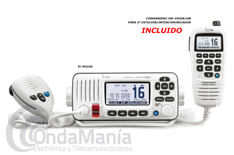 EMISORA MARINA IPX7 ICOM IC-M423G WHITE CON MICROFONO MULTIFUNCION HM-195 COLOR BLANCO