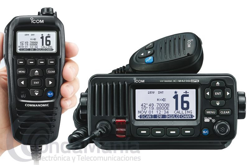 EMISORA MARINA IPX7 ICOM IC-M423G BLACK CON MICROFONO MULTIFUNCION HM-195 COLOR NEGRO - Pack emisora Icom Marina compuesto de emisora Icom IC-M423G Black y micrófono multifunción con teclado y display LCD COMMANDMIC® Icom HM-195G Black, el equipo incluye múltiples, modernas funciones y accesorios como cancelador activo de ruido, GPS integrado para una instalación sencilla, grado de protección IPX7 para los dos accesorios, función de drenaje AquaQuake®, DSC Clase D incorporado (cumple ITU-R M493-13),....