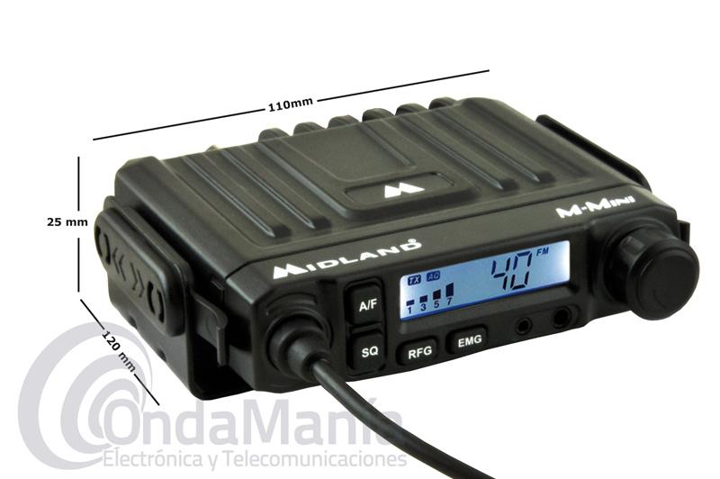 MIDLAND M-MINI EMISORA DE 27 MHZ CB DE REDUCIDO TAMAÑO MULTINORMA CON AM Y FM+SUBZERO DE REGALO - La Midland M-Mini es una emisora de banda ciudadana CB de reducido tamaño, dispone de AM y FM, subida y bajada de canales desde la emisora o desde el micrófono, tiene una toma frontal para conectar un pinganillo con cable o inalámbrico Bluetooth,.....