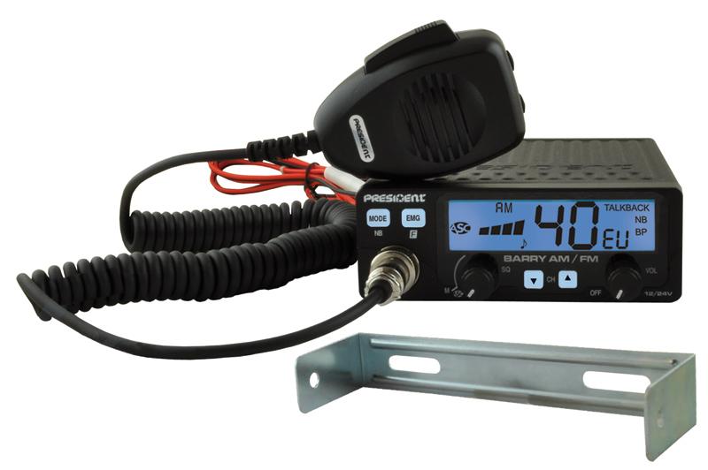 PRESIDENT BARRY AM/FM ASC 12/24V EMISORA DE BANDA CIUDADANA CB 27 MHZ - Transceptor de banda ciudadana CB-27 Mhz, con 40 canales en AM y FM, dispone de 7 colores a elegir para su gran display LCD, podemos instalarla a 12 y a 24 V, incluye roger-beep, ASC, subida y bajada de canales desde la emisora y desde el micrófono,...