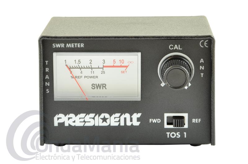 MEDIDOR DE ROE Y POTENCIA PRESIDENT TOS-1 - Medidor de estacionarias President compacto ideal para un rango de frecuencias de 26 a 30 Mhz.