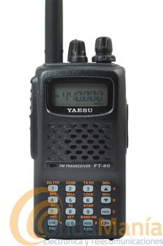 YAESU FT-60E+PINGANILLO DE REGALO - El Yaesu FT-60 es un equipo portátil con una potencia de 5W y con batería de Ni-Mh 1.400mAh posee una recepción entre 108/520 y 700/999 Mhz. (en banda de aviación AM), con 1.000 memorias divididas en 10 bancos. Incluye CTCSS y botón de acceso al sistema Wires.