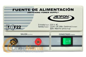 JETFON PC-F22 FUENTE DE ALIMENTACION 20/22 AMP. - Fuente de alimentación DC 13.8V.conmutada, estabilizada y cortocircuitablecon una intensidad de 20 Amp. continuos y 22 Amp. de pico.