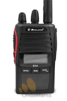 MIDLAND G-14 TRANSCEPTOR PMR-446 DE USO LIBRE - El G14 es un PMR de uso libre profesional pequeño y robusto incluye secrafonia, 99 canales, función VOX, tonos CTCSS y DCS, batería de Ion-litio, cargador de sobremesa,....