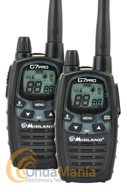 PAREJA DE WALKIE TALKIE DE USO LIBRE PMR-446 MIDLAND G7E PRO OUTLET - REFURBISHED