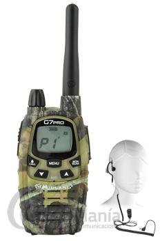 MIDLAND G7 PRO MIMETIC + PINGANILLO MIDLAND DE REGALO - NUEVA VERSIÓN V1 MEJORADA. Midland G-7 PRO Mimetic esuna radio con GRANDES prestaciones.El Midland G-7 Mimetic incluye: 1 radio, cargador de pared, 4 pilas recargables Ni-MH AA 1.2V/1800 mAh, clip de enganche para cinturón, pinganillo y manual de usuario.