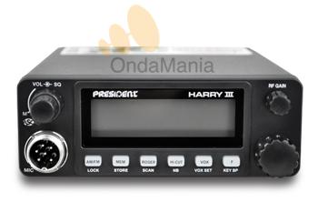 PRESIDENT HARRY III ASC 12/24 V - El President Harry III ASC 12/24V es un transceptor de Banda Ciudadana (27 Mhz) muy robusto y de un tamaño reducido, con multi-normas Europeas y Squelch Automático, se puede conectar indistintamente a 12 VCC o a 24 VCC.