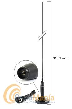 ANTENA MAGNETICA COBRA HG-A1500 PARA CB 27 MHZ - Antena magnética para uso envehículoscon una cobertura de 26 a 30 Mhz, esta antena tiene una varilla de acero cromado con unalongitud de 965.2 mm y admite una potencia máxima de 300 W.