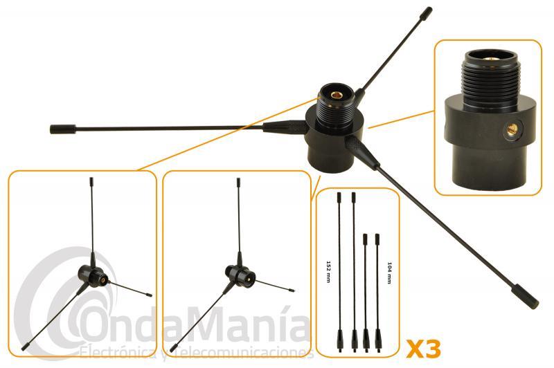 RE-02 KIT PLANO DE TIERRA PARA ANTENAS DE MOVIL O BASE  - Kit plano de tierra para intercalar en antenas móviles o de base que tengan conector tipo PL, el kit dispone de 6 radiales: 3 largos para VHF y 3 más cortos para la banda de UHF