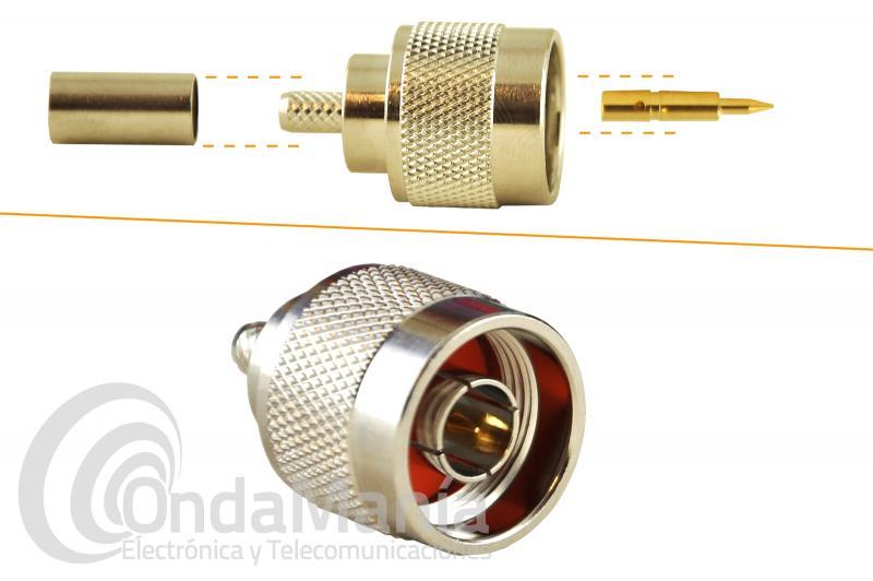 CONECTOR N MACHO AEREO DE TEFLON PARA GRIMPAR EN CABLE RG-223 - Conector N macho de teflon para crimpar en cable RG-223