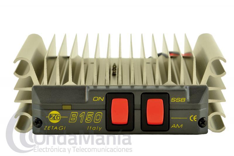 ZETAGI B-150R AMPLIFICADOR DE 26 A 30 MHZ, 100 A 150 W P.E.P AM/FM/SSB, INCLUYE  LATIGUILLO PL-PL - Amplificador lineal de HF con un rango de frecuencia de 26 a 30 Mhz, requiere una tensión de entrada de 12 a 13,8 VCC y una potencia testada en AM y FM de 95 W y de 150 W en SSB, incluye un paso final MRF455 y protección contra inversión de polaridad. Incluye latiguillo de 50 cm.