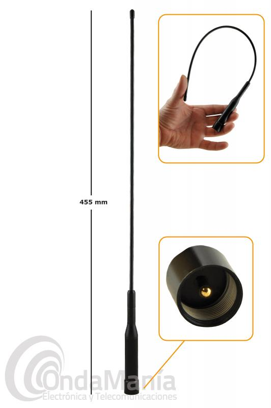 D-ORIGINAL DX-NL-R3 ANTENA MOVIL DOBLE BANDA UHF-VHF SUPER FLEXIBLE