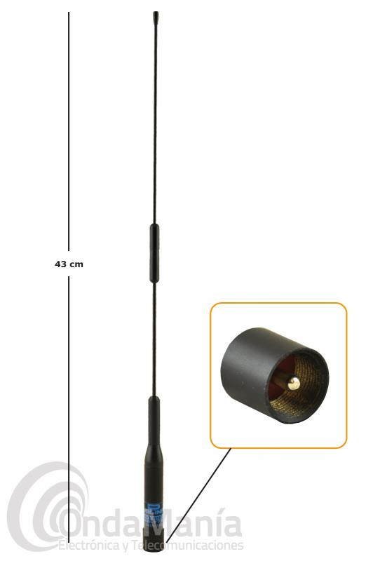 D-ORIGINAL DX-NR-77B ANTENA DOBLE BANDA PARA MOVIL CON CONECTOR PL