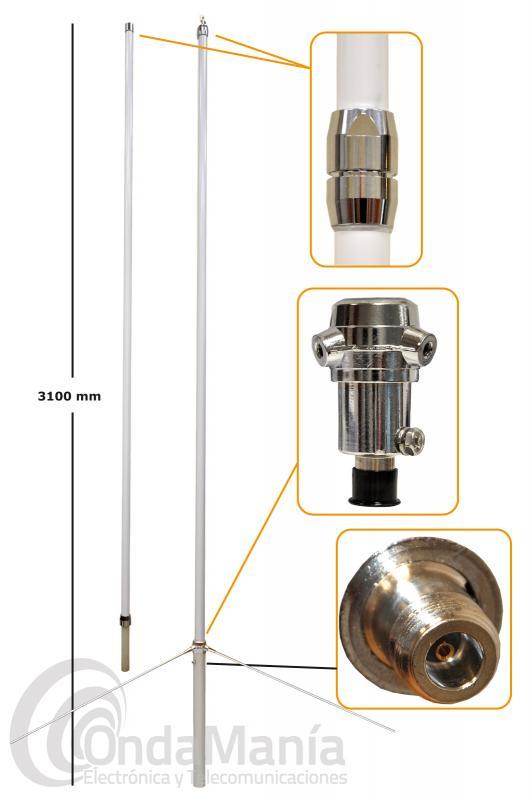 ANTENA DE BASE DOBLE BANDA VHF-UHF D-ORIGINAL X-300-NW