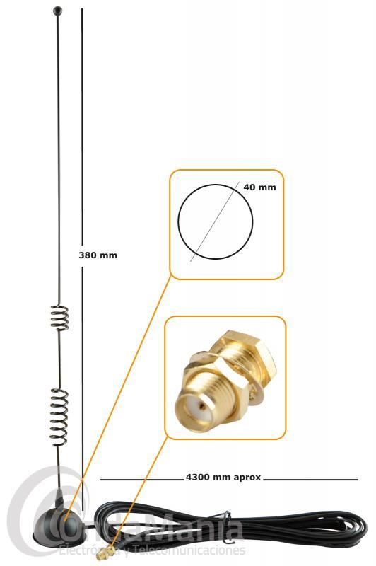 ANTENA MAGNETICA D-ORIGINAL EX-42-VU-S DOBLE BANDA UHF-VHF CON SMA FEMALE (HEMBRA)