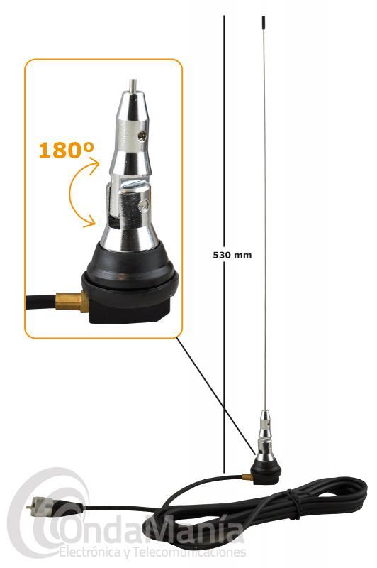 ANTENA MOVIL DE VHF TELECOM SMA-4P DE 1/4 DE ONDA CON UN MARGEN DE 136 A 174 MHZ