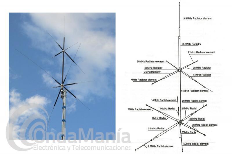 ANTENA MULTIBANDA DIAMOND CPVU-8 PARA HF, VHF Y UHF CON 2,7 METROS DE LONGITUD
