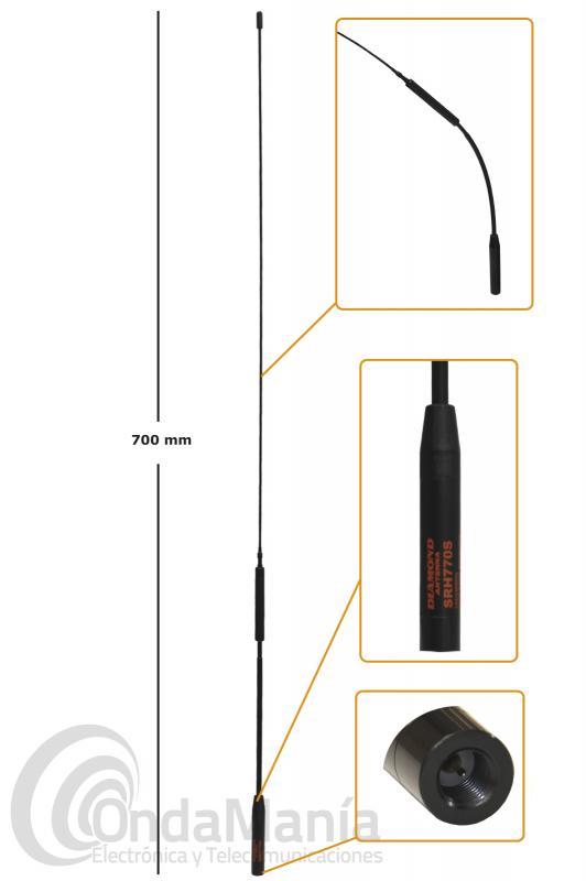 ANTENA DIAMOND SRH-770S DOBLE BANDA VHF Y UHF 144/430 MHZ CON CONECTOR SMA MACHO