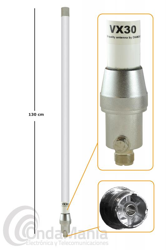ANTENA DOBLE BANDA DE FIBRA  DIAMOND VX-30 CON 1,30 MTS DE LONGITUD, SIN RADIALES - Antena doble banda de fibra Diamond  original VX-30 con 2,15 dBi de ganancia en la banda de VHF y 5,5 dBi en la banda de UHF, no tiene radiales y tiene una longitud de 1,30 mts.