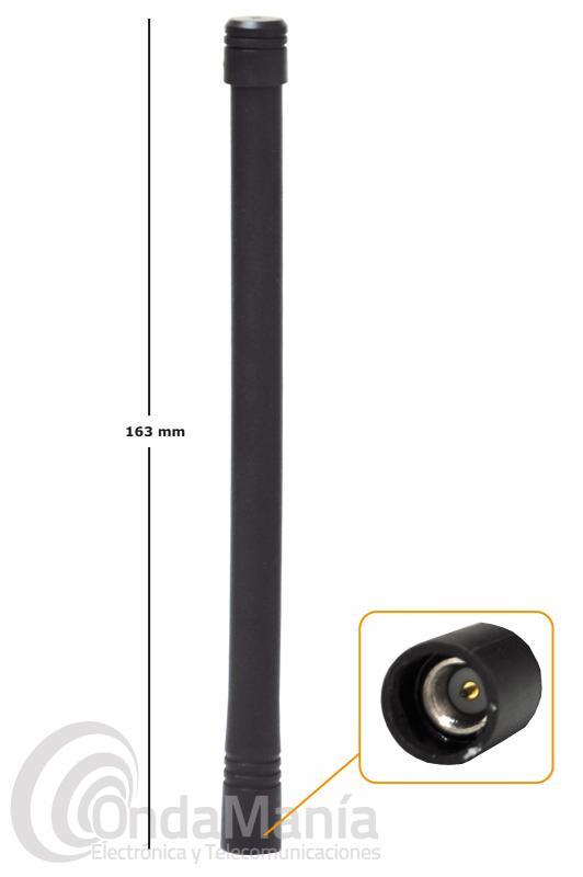 ANTENA D-ORIGINAL DX-AP-YV DE VHF DE 136 A 174 MHZ CON CONECTOR SMA MACHO Y 163 MM DE LONGITUD