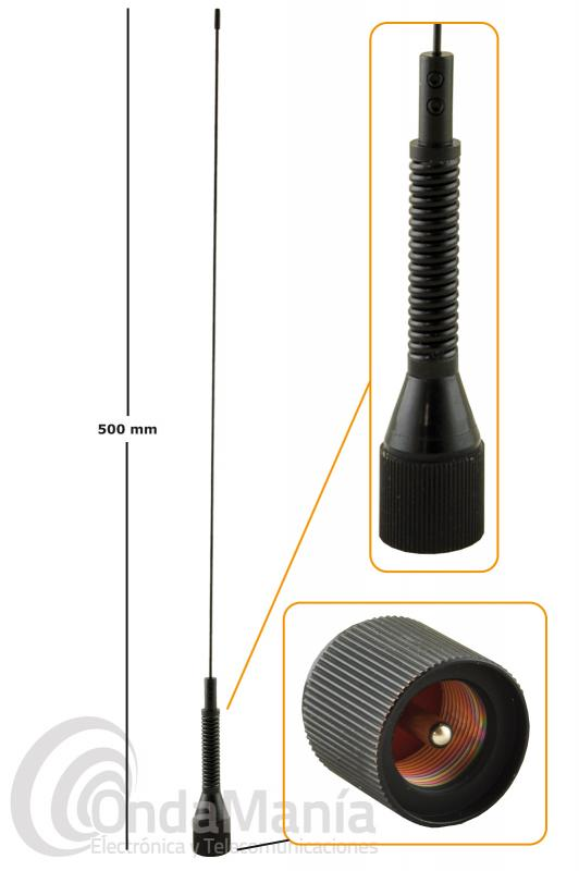 ANTENA PARA MOVIL VHF JETFON M-150-GSA  1/4 DE ONDA CON MUELLE Y AJUSTABLE COLOR NEGRO