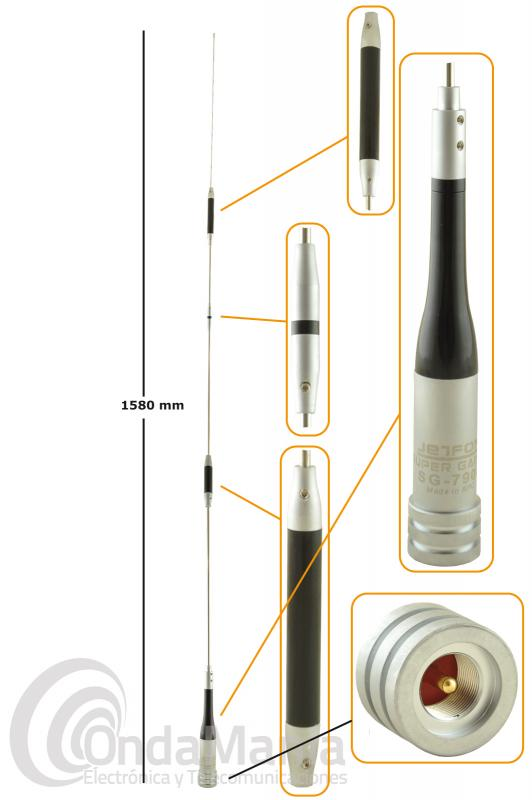 ANTENA DOBLE BANDA 144/ 430 MHZ PARA MOVIL JETFON SG-7900