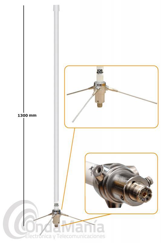 JETFON X-30 PL ANTENA DE BASE DOBLE BANDA UHF / VHF CON CONECTOR PL