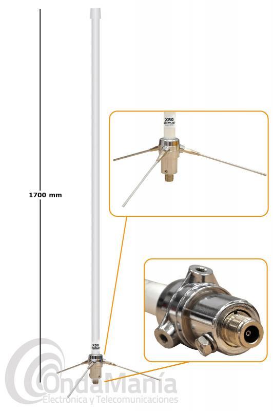 JETFON X-50 N ANTENA DE BASE DOBLE BANDA UHF / VHF CON CONECTOR N - Antena de fibra para base de doble banda de VHF y UHF Jetfon X-50 con conector N, tiene 170 cm de longitud y una ganancia de 4,5 dB en VHF y 7,2 dB en UHF, una potencia máxima de 200 W, pesa 0,90 Kg,....