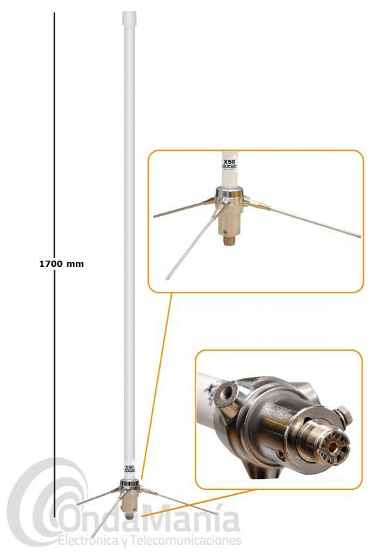 JETFON X-50 PL ANTENA DE BASE DOBLE BANDA UHF / VHF CON CONECTOR PL