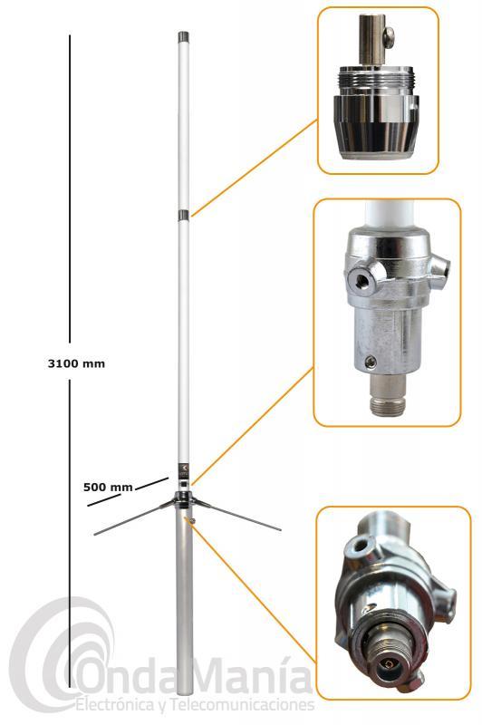 ANTENA DE BASE DE FIBRA DE VIDRIO DOBLE BANDA VHF-UHF KOMUNICA X-300-PWR