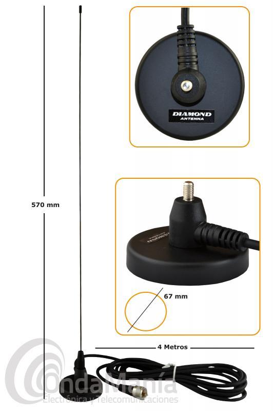 DIAMOND MC-100 ANTENA MAGNETICADE VHF DE 134 A 174 MHZ