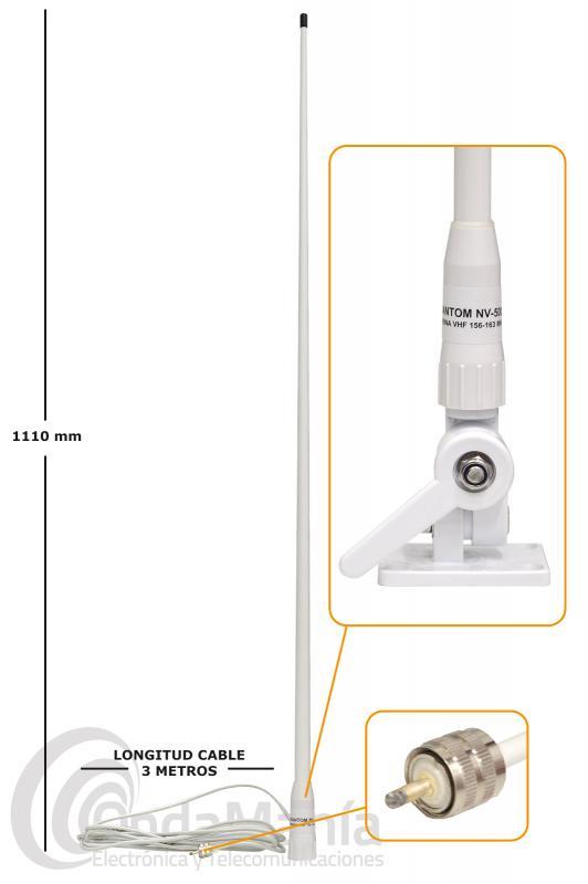 ANTENA NAUTICA BLANCA DE FIBRA PHANTOM NV-5001 156-163 MHZ+SOPORTE DE CUBIERTA ARTICULADO