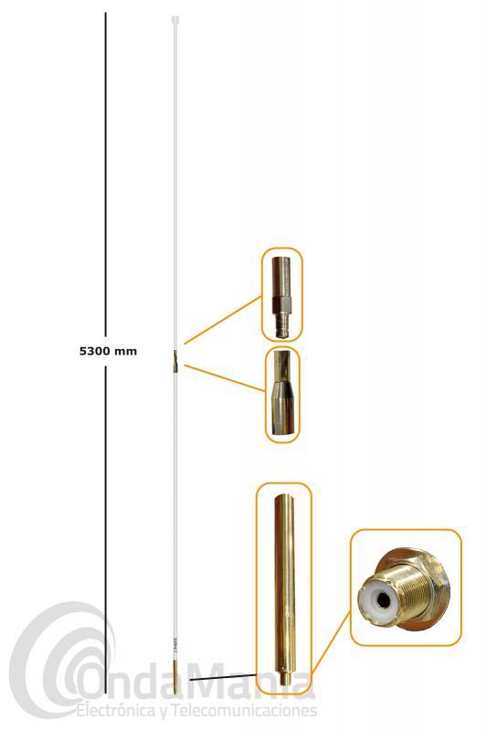 ANTENA DE 27 MHZ DE FIBRA TAGRA M-27 1/2 CON SOPORTES PARA MASTIL SIX-282 - Antena de base omnidireccional para CB de 26 a 28 Mhz, de fibra de color blanca, con 3 dBd de ganancia, 5300 mm de longitud en dos tramos, incluye soportes para mástil.