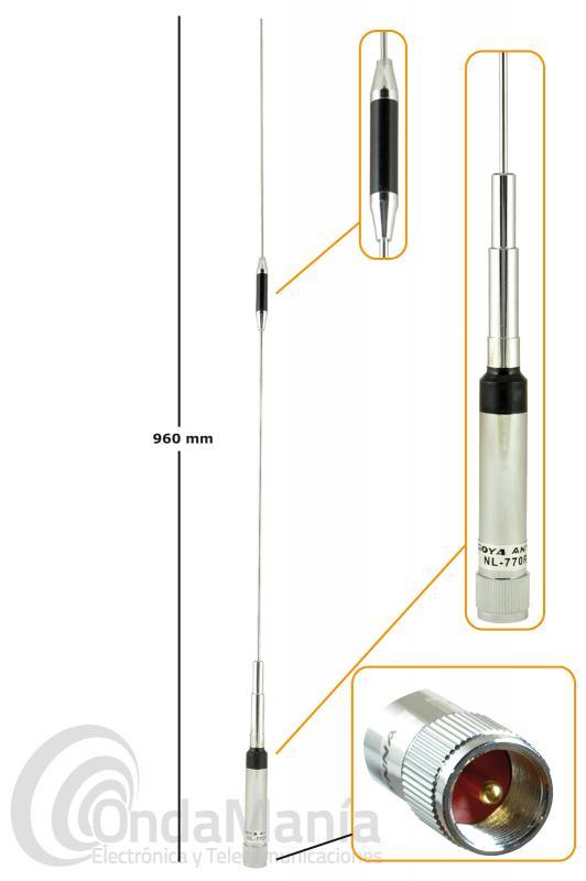 NAGOYA NR-770R PLATA, ANTENA PARA MOVIL DOBLE BANDA UHF/VHF 200W