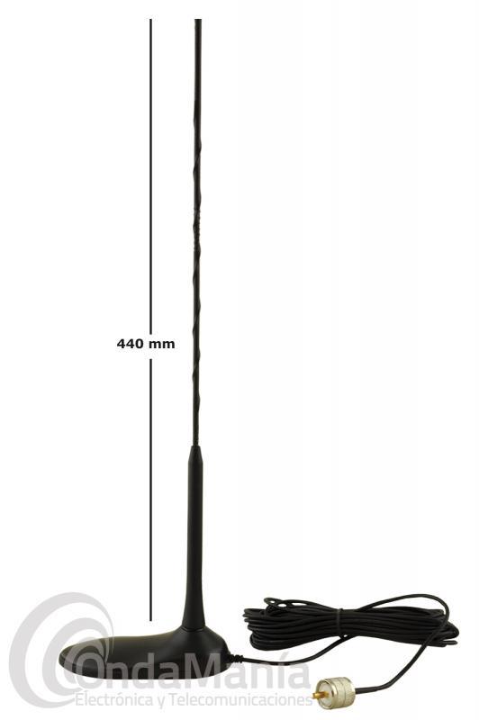 ANTENA MAGNETICA DE BANDA CIUDADANA CB-27 MHZ PNI EXTRA 45  - Antena magnética de banda ciudadana de reducido tamaño con 440 mm de longitud, 50 W de potencia, base magnética con una longitud de 122 x 60 mm, 4 metros de cable RG-58 y un  conector PL.