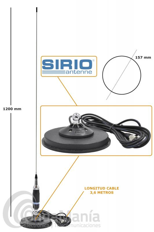 ANTENA DE BANDA CIUDADANA CB-27 PNI S-9 CON 120 CM DE LONGITUD Y BASE MAGNETICA SIRIO MAG-145S