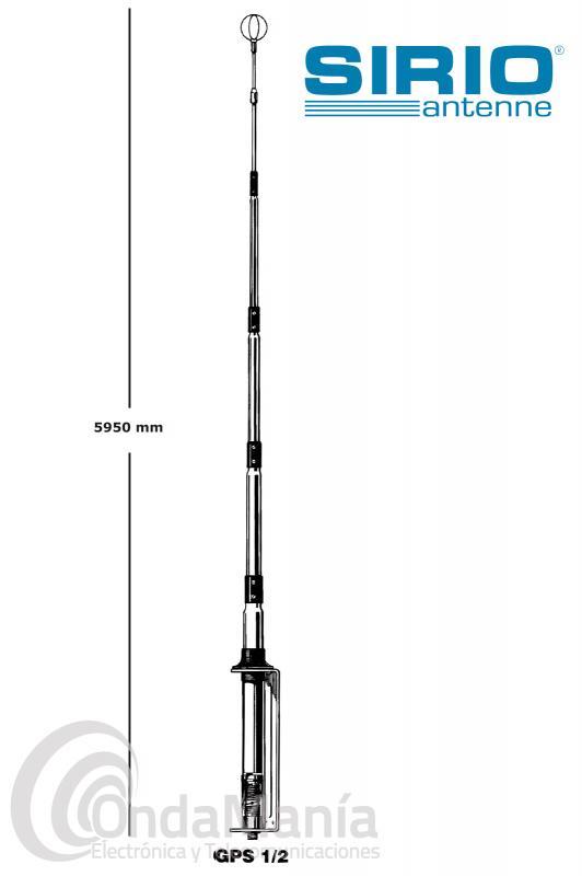 SIRIO GPS-27 1/2 ANTENA DE BASE  DE 1/2 ONDA DE 26 A 28 MHZ Y 750 W P.E.P.