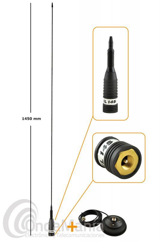 SIRIO ML-145 MAGNETICA ANTENA DE BANDA CIUDADANA 27 MHZ CON BASE MAGNETICA