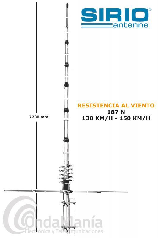 ANTENA DE BASE SIRIO NEW TORNADO 27 DE 5/8, ALUMINIO, 4 RADIALES, , 3000 W DE POTENCIA DE PICO,... - La Sirio NewTornado 27 es una antena de base de 5/8 con 4 radiales, tiene un rango de frecuencia de 27 a 30 Mhz., aguanta una potencia continua de 1000 W y 3000 W de pico, su ganancia es de (3,35 dBi) 1,2 dBd, 7,23 mts de longitud y sus radiales tienen una longitud de 2 mtz, dispone de un conector PL (SO-239) hembra en su base.