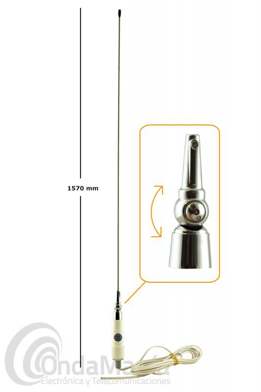 SIRTEL COUNTRY 27A ANTENA MOVILPARA CB 27 MHZ IDEAL AUTOCARAVANAS AL NO NECESITAR PLANO DE TIERRA - Antena de banda ciudadana 27 Mhz con una longitud de 1,57 mts, esta antena no requiere plano de tierra por lo que es ideal para instalarla en barcos, auto-caravanas o vehículos de fibra, aluminio,..., la antena incluye 5 metros aprox. de cable RG-58 sin conector PL.