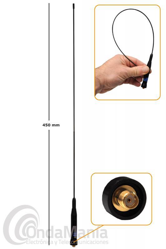 ANTENA SUPER-FLEXIBLE DOBLE BANDA VHF-UHF D-ORIGINAL DX-SRH-500-SMAF CON CONECTOR SMA FEMALE-HEMBRA