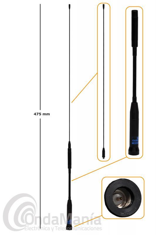 ANTENA DOBLE BANDA VHF-UHF D-ORIGINAL DX-SRH-760M CON CONECTOR SMA MACHO Y DOS TRAMOS